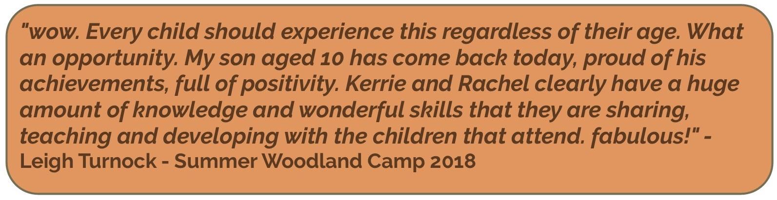 woodland camp wow testimonial