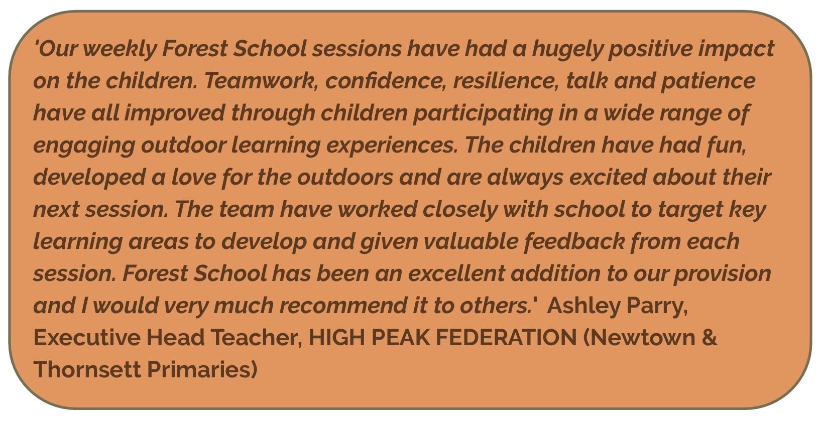 Forest School Ashley Parry testimonial 2019